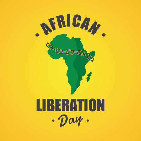 An illustration of African Liberation Day with African map and chain breaking. Vector illustration Vectores