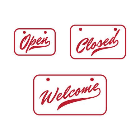Lettering Open Closed and Welcome door sign with red color. Vector illustration