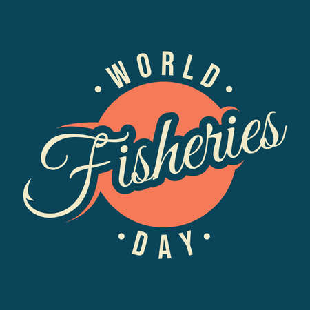 Letter World Fisheries Day with fishing hook on the word fisheries emblem design. Colorful design World Fisheries Day for element design. Vector illustration