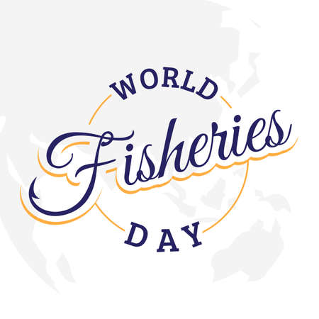 Letter World Fisheries Day with fishing hook on the word fisheries. Colorful design World Fisheries Day for element design. Vector illustration