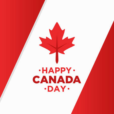 Happy Canada day background with red maple leaf vector image. Vector illustration Illustration