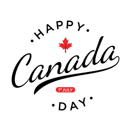 Happy Canada day lettering design with red maple leaf vector image. Vector illustration