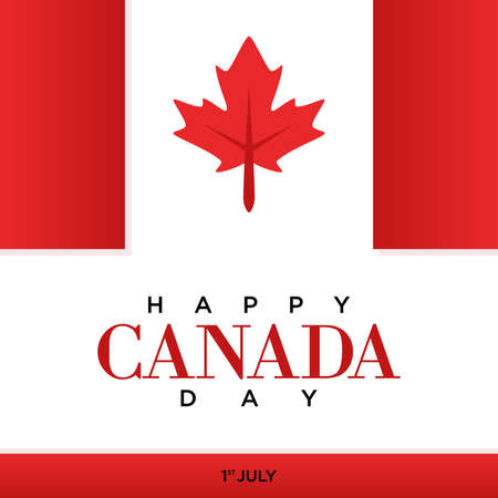 Happy Canada day letter with red maple leaf vector image. Vector illustration