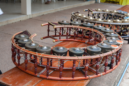 thai musical instrument: Gong wong. Thailand instrument consists of several small gong