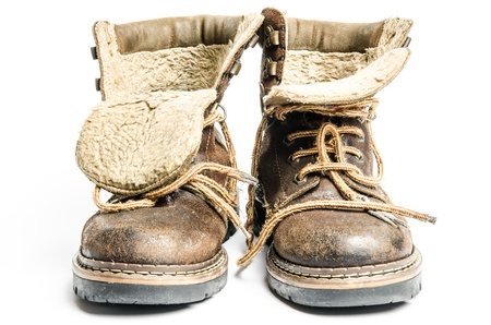old winter and mountain boots on white background 版權商用圖片 - 17921374
