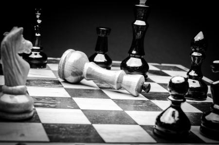 Schaakbord zwart wit Stockfoto