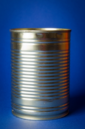 tinned: Tin Can on blue background