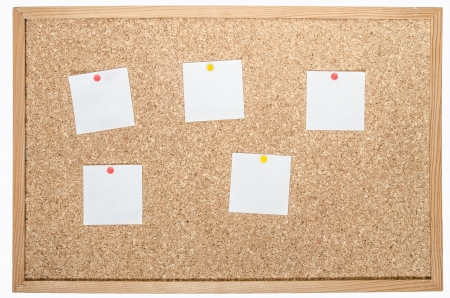 white pages pinned to cork board  Stock Photo - 17910333