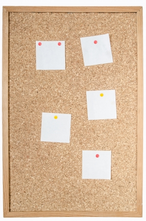 pin board: white pages pinned to cork board
