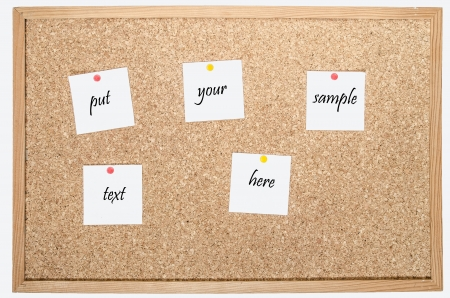 white pages pinned to cork board with space for your text photo