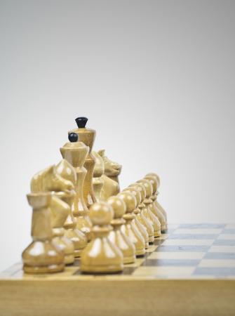 Witte schaakstukken Stockfoto