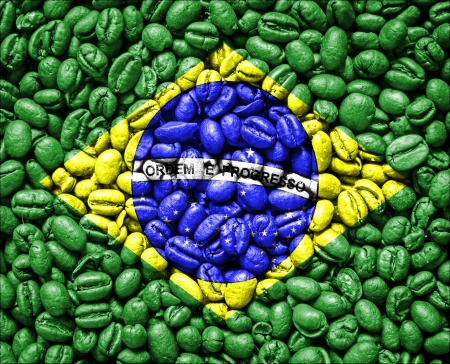 Brazil Flag on coffee seeds
