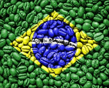 Vlag van Brazilië op koffie zaden