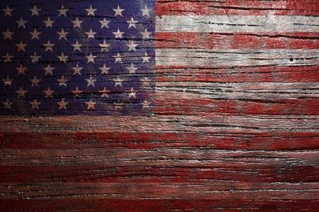 木製のテクスチャに米国旗の背景 写真素材