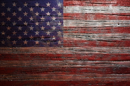 USA Flag background on wooden texture  Stock Photo