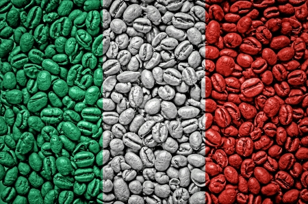 Italy flag on coffee seeds
