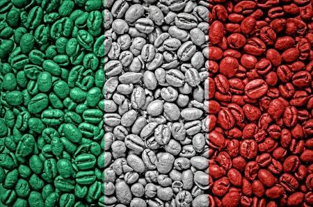 Italy flag on coffee seeds