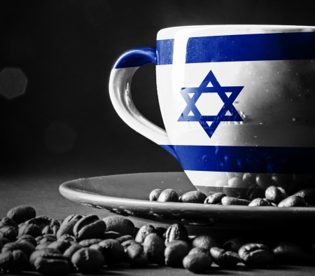 geographical locations: Israel Flag on cup of coffee