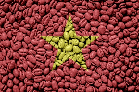 Vietnam flag on cup of coffee