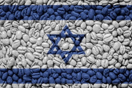 Vlag van Israël op koffiebonen achtergrond