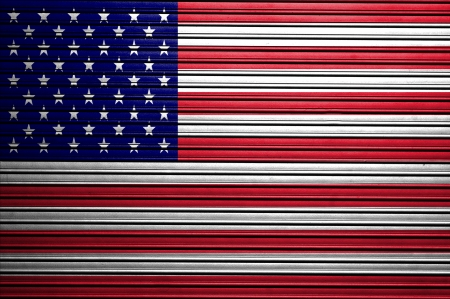 Grunge USA Flag on metallic background  photo