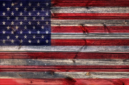 USA Flag background on wood texture