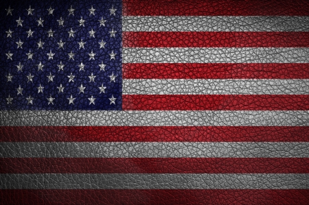 Grunge USA Flag on metallic background  photo