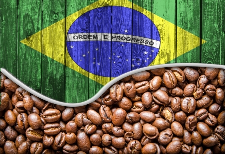 Brazil Flag and coffee seeds background  版權商用圖片