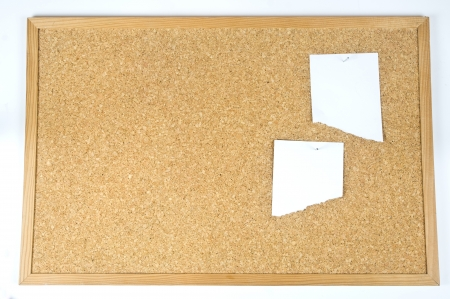 close up view of thumbtack and note on corkboard Stock Photo - 18606368