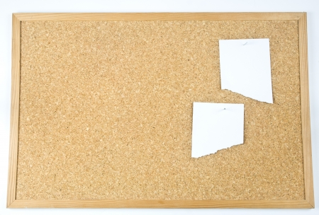 close up view of thumbtack and note on corkboard  Stock Photo - 18606251