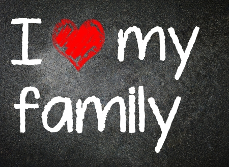 I love family handwritten with white chalk on a blackboard   photo