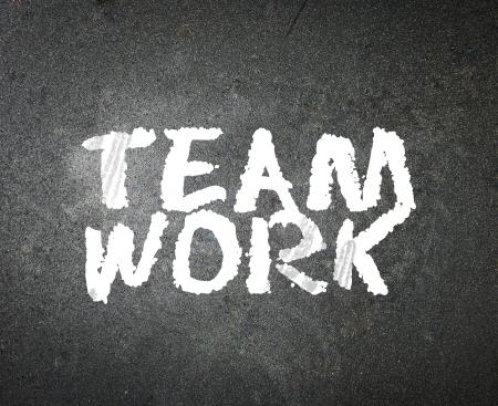 word Teamwork on blackboard  photo