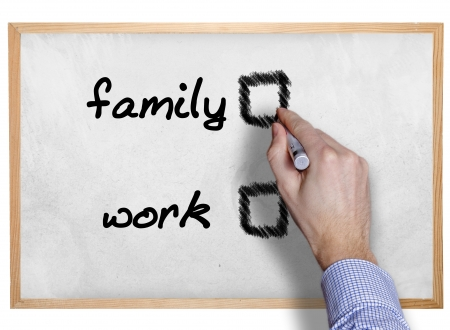 hand writing family and work on board with check boxes  photo