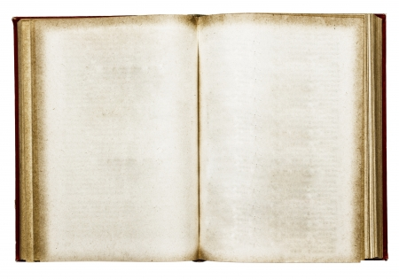 Old open book on white Stock Photo - 19261406