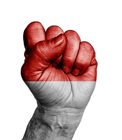 revolt: Front view of punching fist, banner of Indonesia  Stock Photo