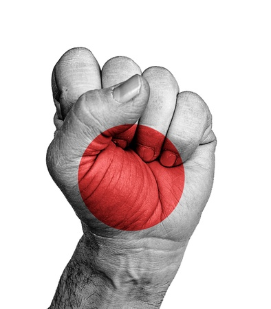 Front view of punching fist, banner of Japan  photo