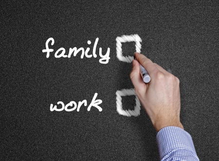 family and work handwritten with white chalk black background or blackboard  photo