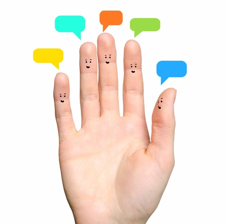 Happy group of finger faces as social network 版權商用圖片 - 19261389