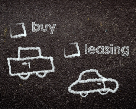 buy or leasing car on blackboard Stock Photo - 20394884