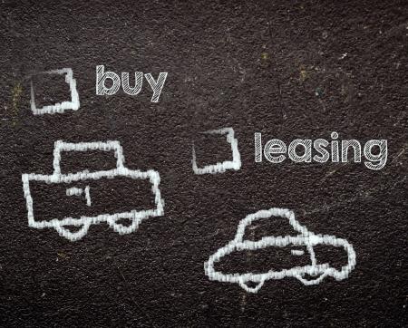 buy or leasing car on blackboard