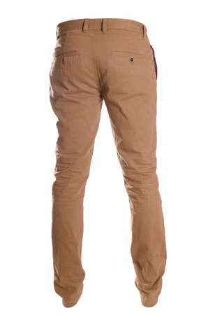 chinos: pants isolated on white, ghost fashion style, brown beige chinos Stock Photo