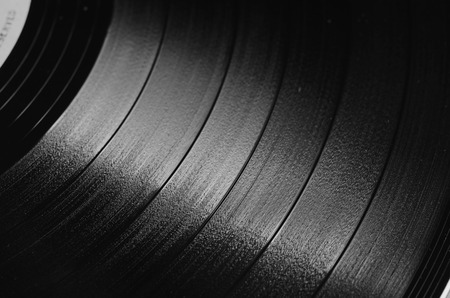 grooves: The segment of vinyl record with label showing the texture of the grooves