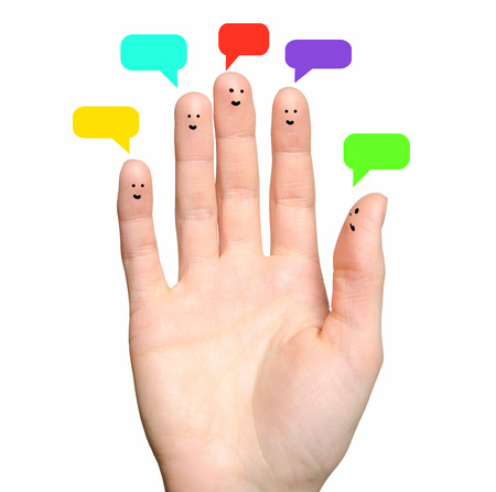 smileys: Happy group of finger smileys with social chat sign and speech bubbles