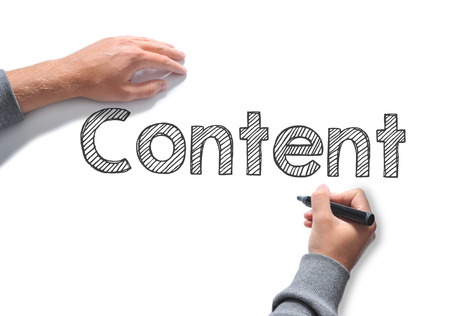 content writing: Content Hand writing word on a white sheet of paper
