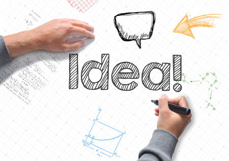 The idea word Hand writing on a white sheet of paper Stock Photo
