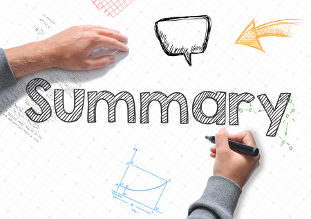 compendium: Summary word Hand writing on a white sheet of paper Stock Photo