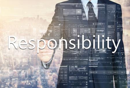 facilitate: Responsibility Businessman writing on a virtual screen Stock Photo
