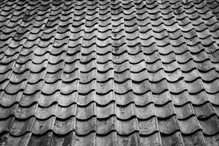 Spanish tile roof. Background texture Mediterranean architectural details.