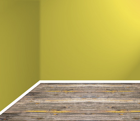 empty room corner with wooden floor and yellow wall