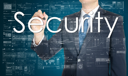 to encode: businessman writing Security and drawing some sketches